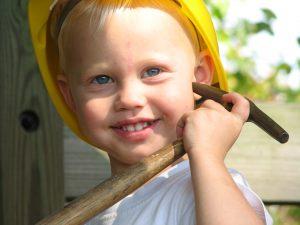 Baby boy handyman hammer hardhat
